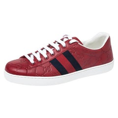 Gucci Red Guccissima Leather Ace Web Low Top Sneakers Size 38.5