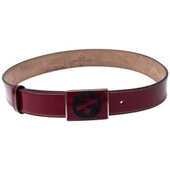 Gucci Red Patent Leather GG Plaque Belt 80CM