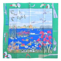 """Gucci Silk Scarf """"Hunting Lake Motif"""" Green, Blue - Red, New Never worn 1990s"""