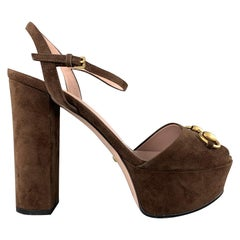 GUCCI Size 8.5 Brown Suede Chunky Platform Gold Horsebit Sandals