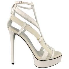 GUCCI Size 9 White Leather & Suede Strappy Platform LIFFORD MELBOURNE Sandals