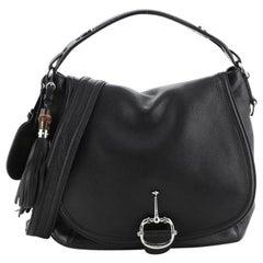 Gucci Techno Horsebit Convertible Hobo Leather Large