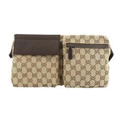 Gucci Vintage Double Belt Bag GG Coated Canvas