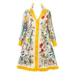 Gucci Vittorio Accornero Flora Fauna Screen Printed Silk Dress, Circa: 1970's