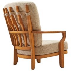 Guillerme & Chambron Lounge Chair in Solid Oak