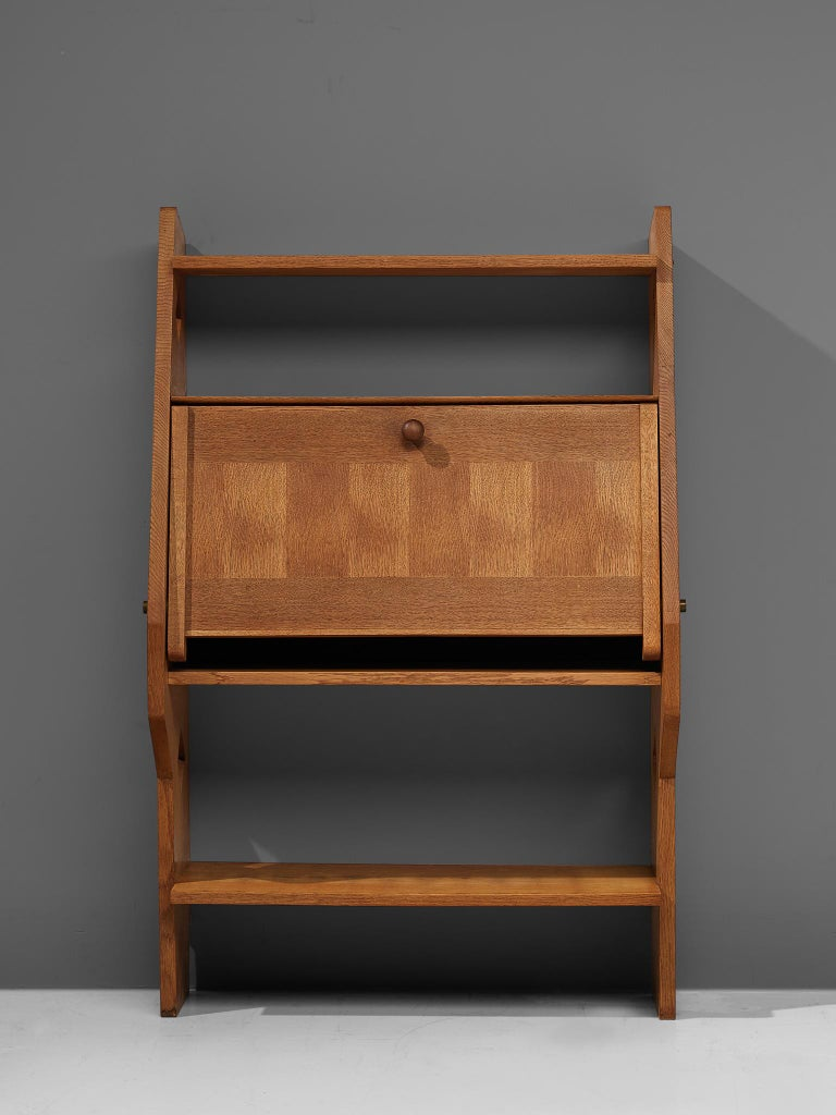 Mid-Century Modern Guillerme et Chambron French Solid Oak Secretary For Sale