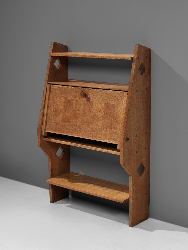 Guillerme et Chambron French Solid Oak Secretary In Good Condition For Sale In Waalwijk, NL