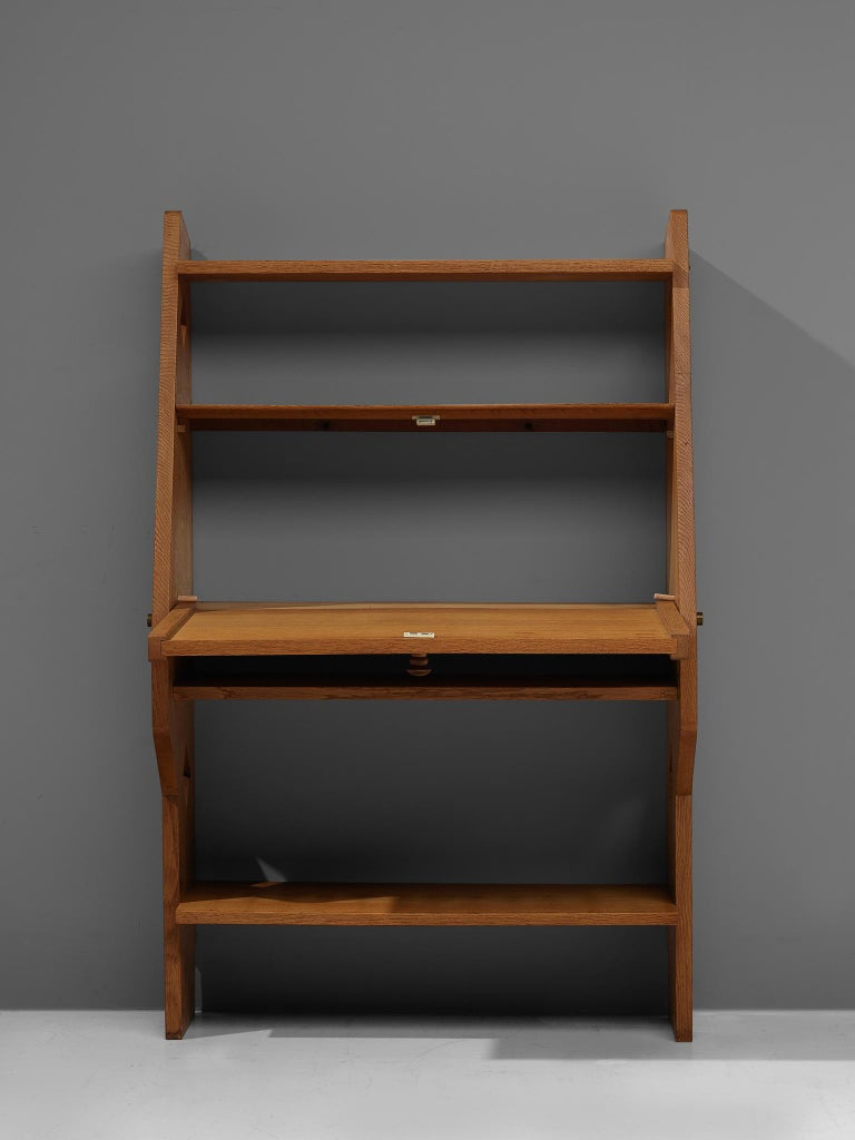 Mid-20th Century Guillerme et Chambron French Solid Oak Secretary For Sale