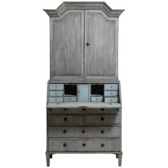 Gustavian Two Part Secretaire in Pale Blue and Grey, 18th Century