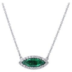 H&H Handmade Emerald and Diamond Halo Pendant Necklace