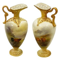 H. Stinton, Royal Worcester Pair of Porcelain Vases, circa 1900
