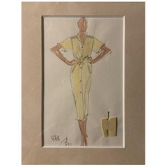 Halston 1970's Ultrasuede Dress Fashion Sketch by Joe Eula with Fabric Sample