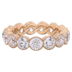 Hancocks 4.90 Carat Old European Cut Diamond Full Set Eternity Rose Gold Ring
