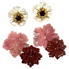 Hand Carved Gemstone Flower Earring Jackets 18 Karat Gold and Garnet Posts