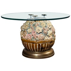 Hand Carved Wood Floral Ball Table by Sarreid Ltd