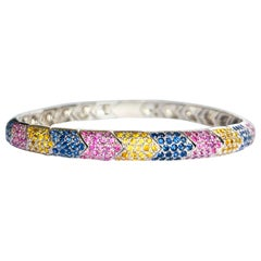 Hand Chiseled White Gold Contemporary Bracelet with Multi-Color Sapphires
