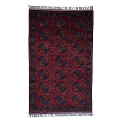 Hand Knotted Afghan Ersari Elephant Feet Design Pure Wool Oriental Rug