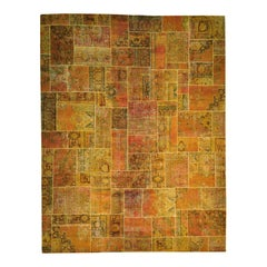 Hand Knotted Pure Wool Overdyed Patchwork Oversize Oriental Rug