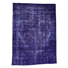 Hand-Knotted Purple Overdyed Persian Tabriz Worn Rug