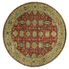 Hand Knotted Round Karajeh Pure Wool Oriental Rug
