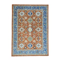 Hand Knotted Rust Red Antiqued Karajeh Pure Wool Rug