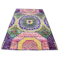 Hand Knotted Sari Silk with Oxidized Wool Mamluk Design Rug