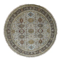 Hand Knotted Silver Karajeh Design Pure Wool Round Oriental Rug