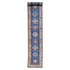 Hand Knotted Super Kazak Blue Tribal Design Extra Large Runner Rug