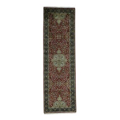 Hand Knotted Tabriz Design New Zealand Wool Oriental Runner Rug