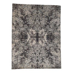 Hand Knotted Wool and Silk Abstract Design Modern Rug