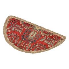 Handmade Carpet, Semicircle Entrance Way Mat Vintage Oriental Rug Door Mat