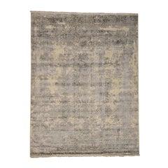 Handmade Wool and Silk Tone on Tone Broken Mughal Design Rug
