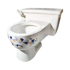 Hand Painted Sherle Wagner Porcelain Chinoiserie 'Blue Mum' Toilet Water Closet