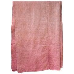 Hand Painted Vintage Linen Throw in Pink Tones, in Stock