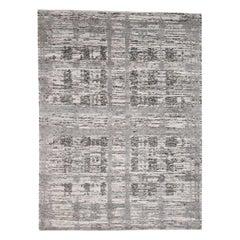 Hand Spun Undyed Natural Wool Grey Modern Oriental Rug