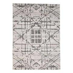 Hand Spun Undyed Natural Wool Modern Grey Oriental Rug