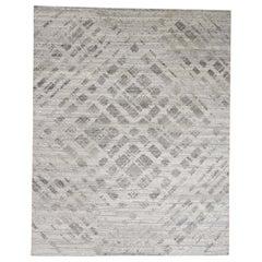 Hand Spun Undyed Natural Wool Modern Oriental Rug