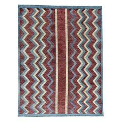 Handwoven Peshawar Gabbeh with Modern Design Oriental Rug