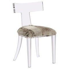 Handcrafted Acrylic Side Chair in Genuine Goat Skin