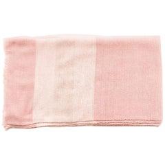 ROSA Plush Handloom Throw / Blanket / Bedspread In Pastel Pink Soft Merino