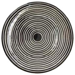 Handmade Ceramic Black and White Circular Striped Cheese Plate, In Stock