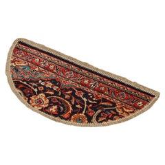Handmade Semicircle Entranceway Mat, Vintage Oriental Rug Door Way Carpet Mat