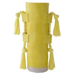 Handmade Vase #504 in Yellow with Yellow Cotton Fringe