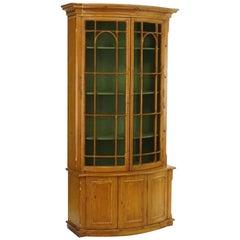Handsome English Pine Two-Door Cabinet with Wire Mesh on Upper Doors Nice Patina