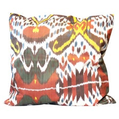 Handwoven Textile Decorative Pillow, Silk Ikat Design Red Cushion Cover for Sale