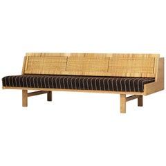 Hans J. Wegner 1950s Danish Modern Daybed in Oak and Rattan Made at GETAMA