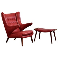 Hans J. Wegner Armchair 'Papa Bear' 'Red Leather' and Footstool