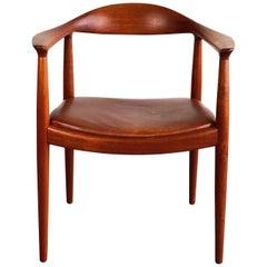 Hans J. Wegner for Johannes Hansen Teak and Cognac Leather Round Chair