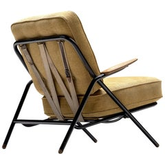 Hans J. Wegner Iconic Sawbuck Lounge Chair in Yellow Upholstery