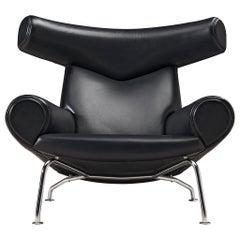 Hans J. Wegner OX 'King' Easy Chair in Black Leather